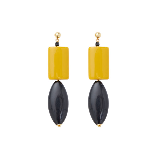 Black yellow statement earrings