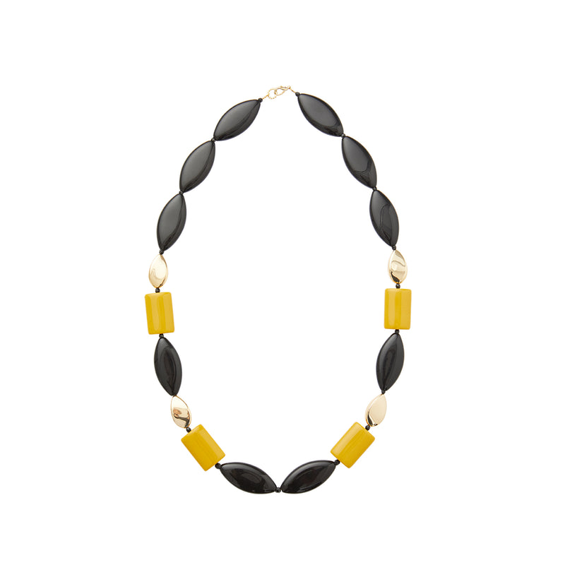 Black gold yellow statement necklace