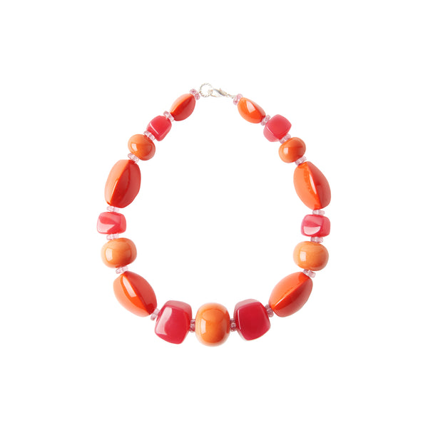 Pink orange red statement necklace