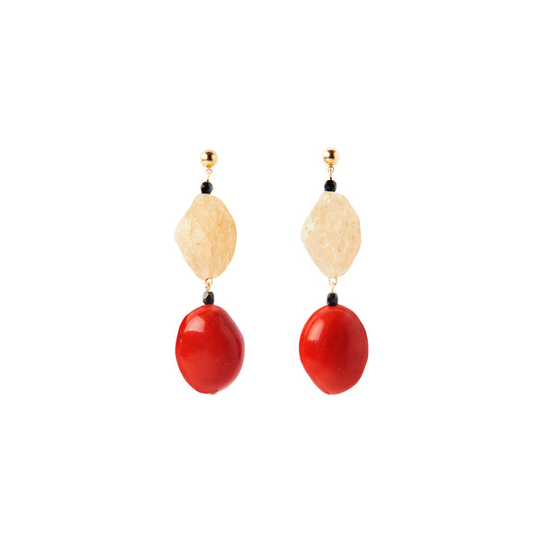 Red coral black statement earrings