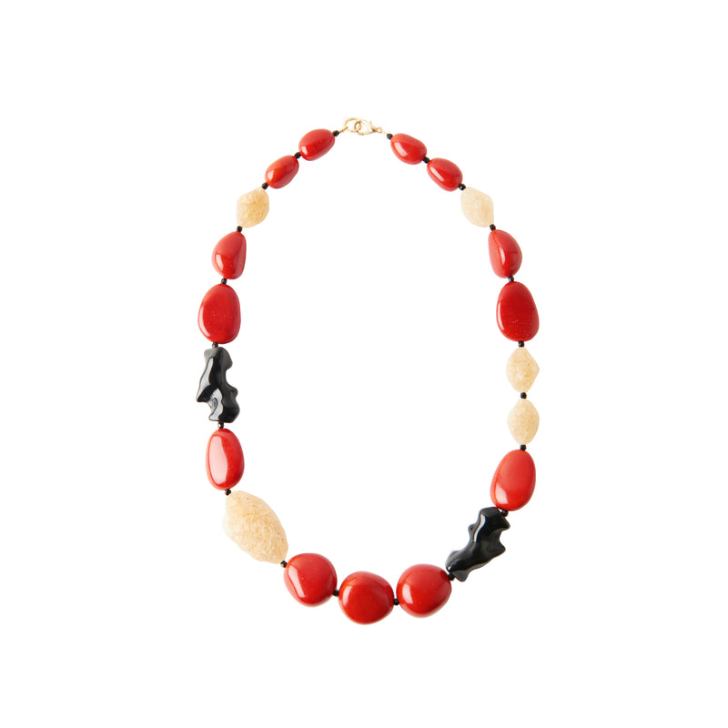 Red coral black statement necklace