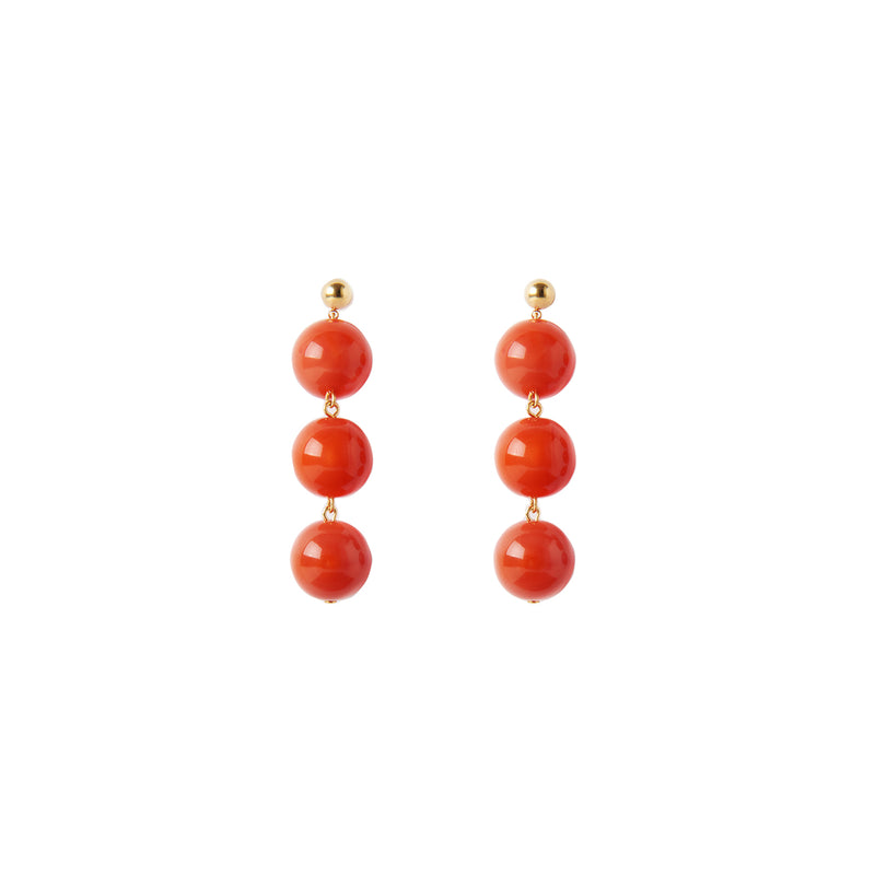 Orange coral statement earrings