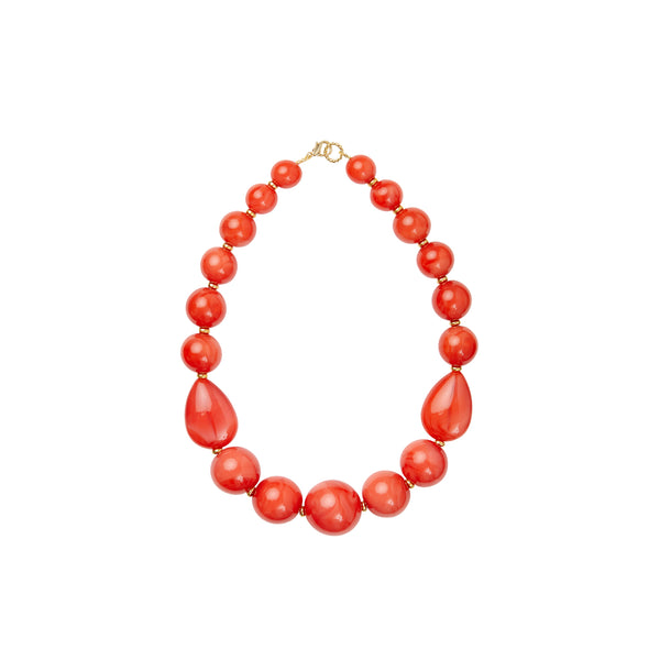 Orange coral gold statement necklace