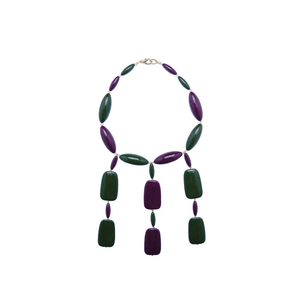 Green burgandy statement necklace