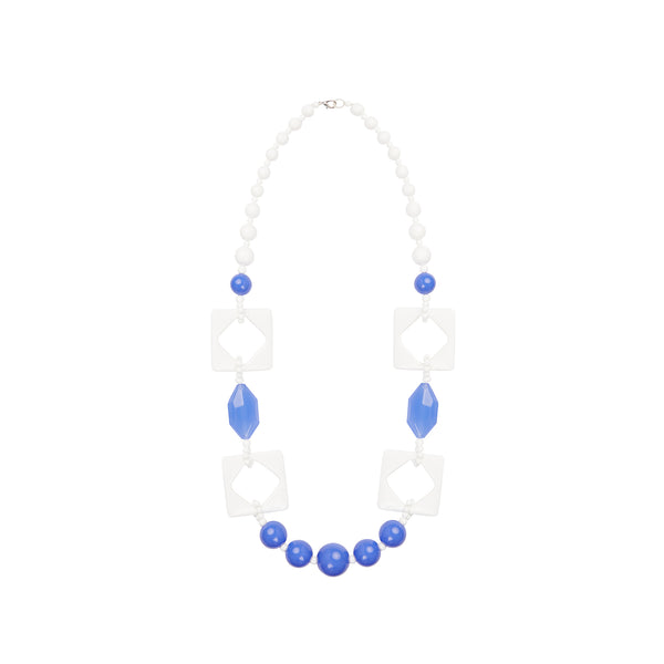 White blue long statement necklace