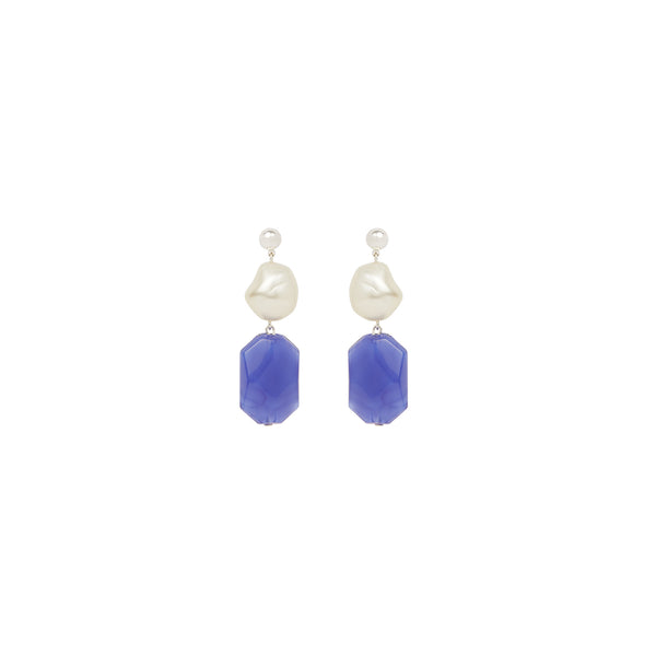 Baroque pearl blue statement earrings