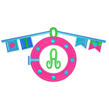 EM-M10003 Girls Porthole w/Monogram Font Embroidery