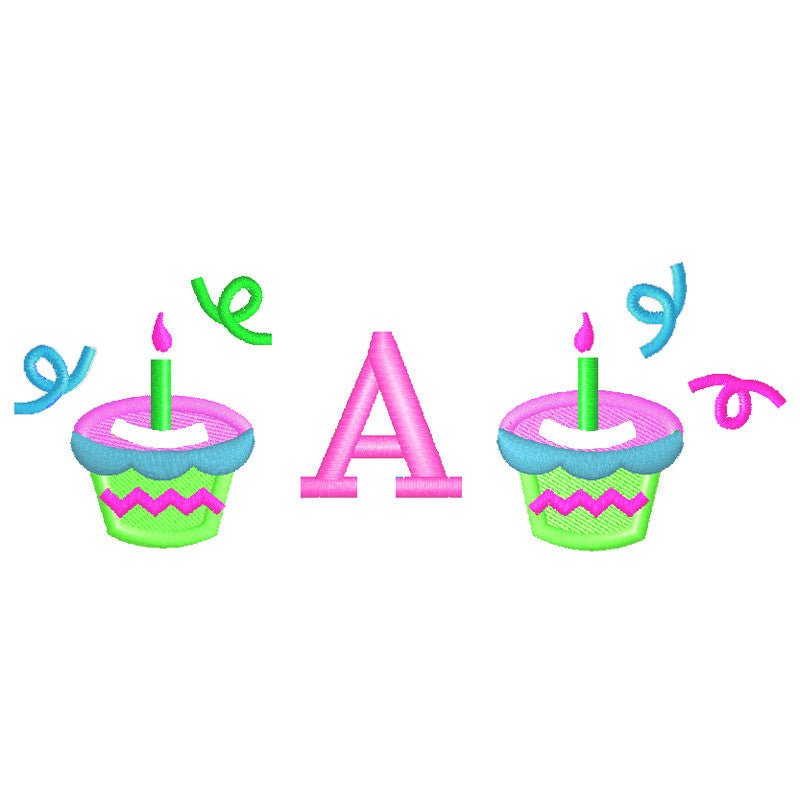 EM-M8585 Cupcakes w/Monogram Font Embroidery