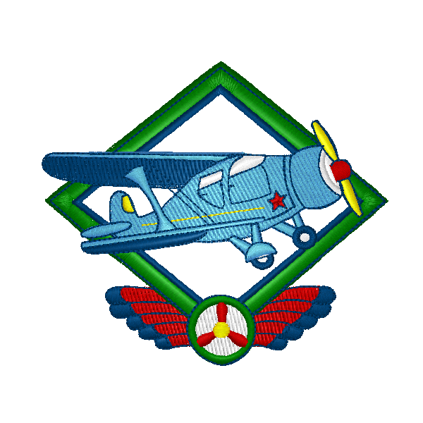 EM-P5018 Stagger Wing Airplane Embroidery
