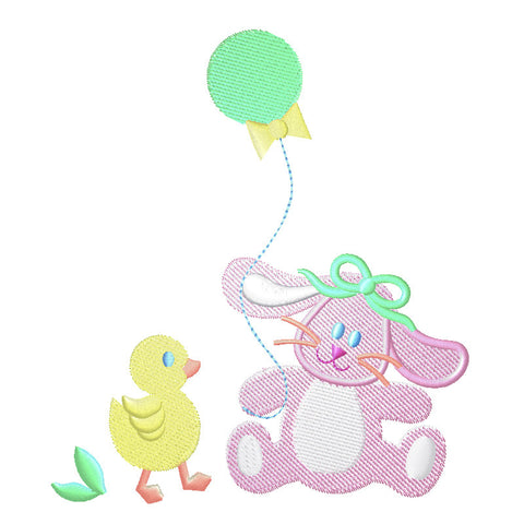 EM-P8621 Baby Bunny w/Balloon Embroidery