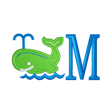 EM-M8743 Whale w/Monogram Font Embroidery