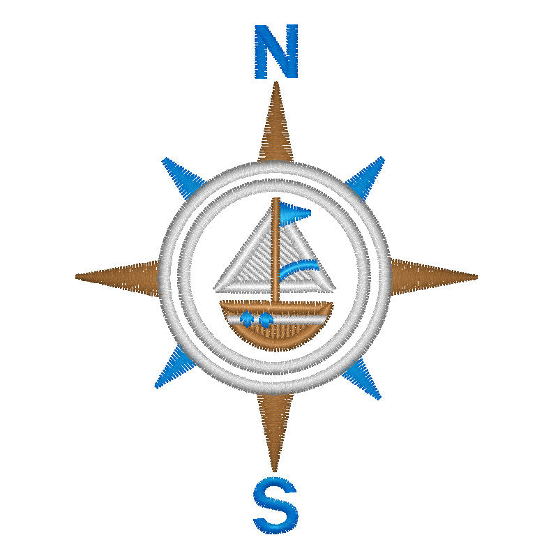 EM-P8958 Nautical Compass Embroidery