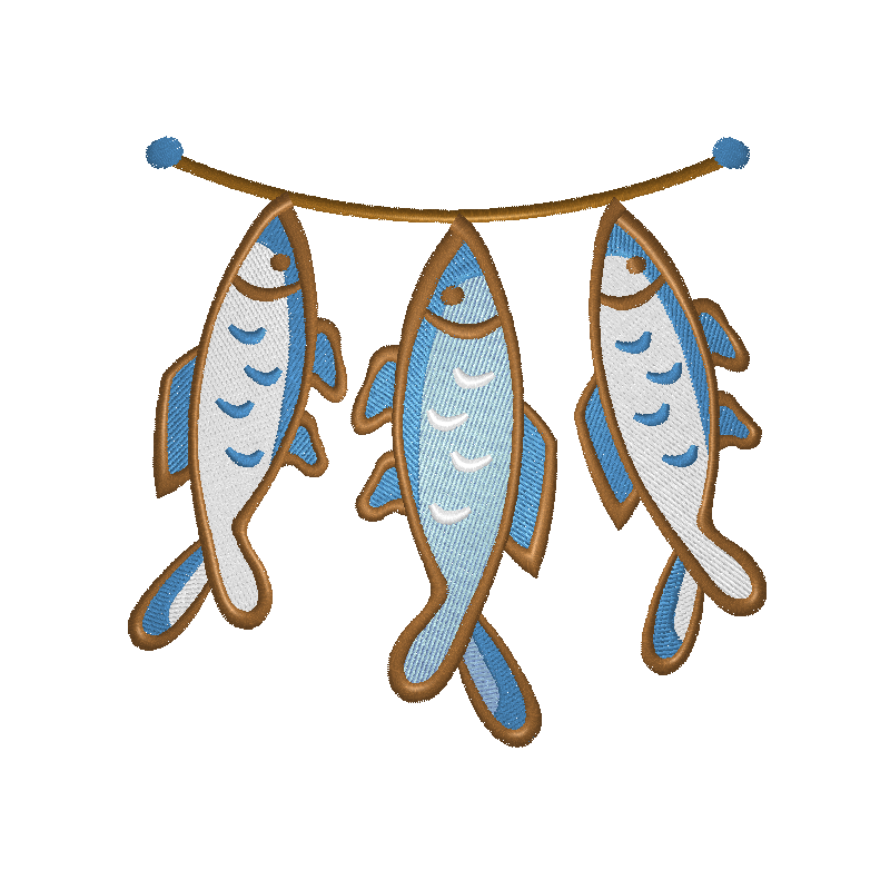 EM-P9186 Fish on a String (2 sizes) Embroidery