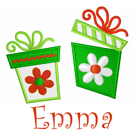 EM-M9421 Gifts Embroidery w/ Curlz Font