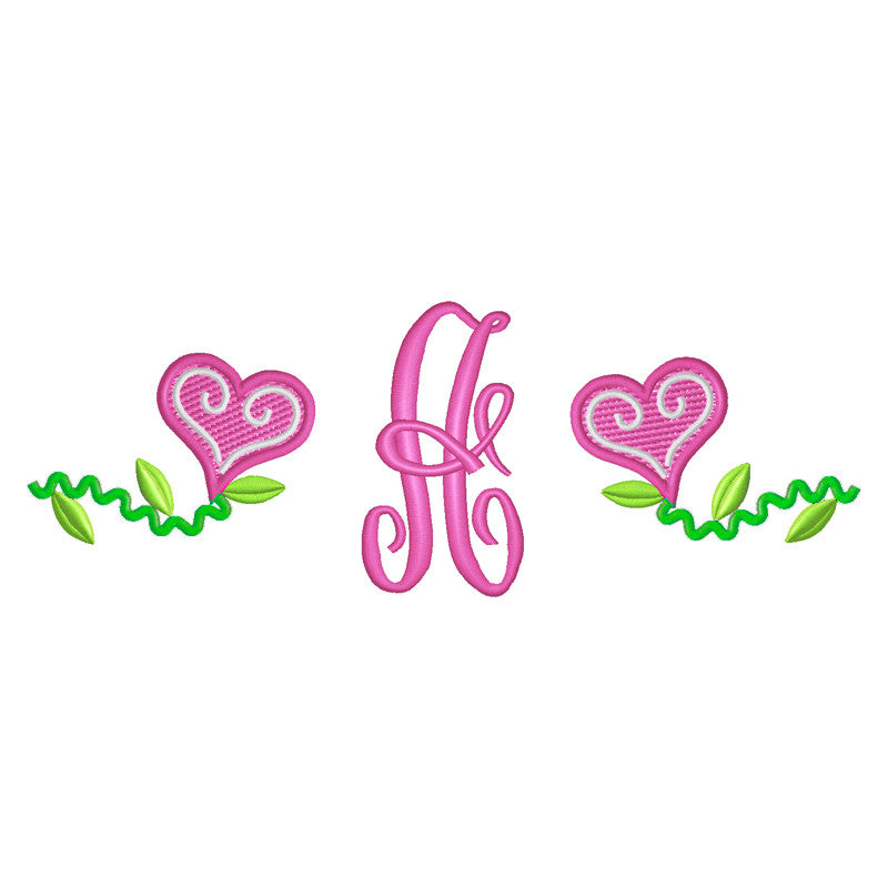 EM-M9436 Hearts w/Monogram Font Embroidery