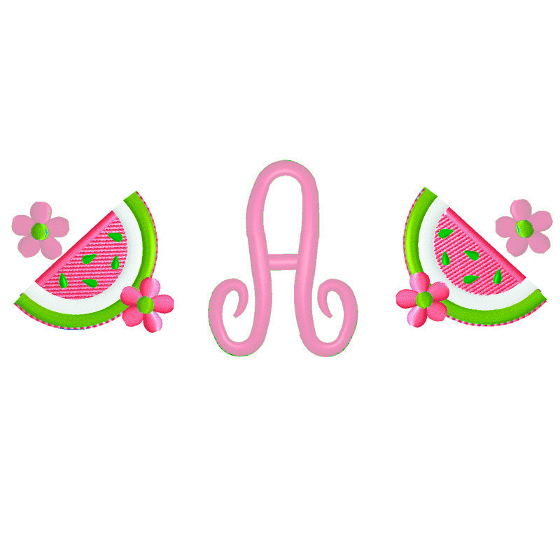 EM-M0277 Watermelons w/Monogram Font Embroidery