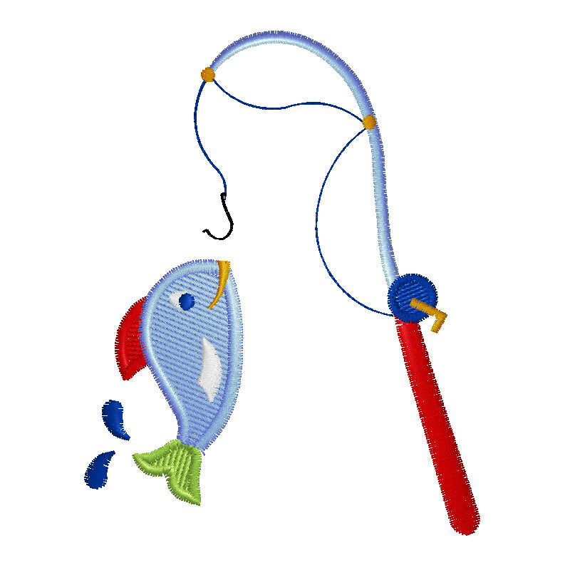 EM-P7801  Fish & Pole Embroidery