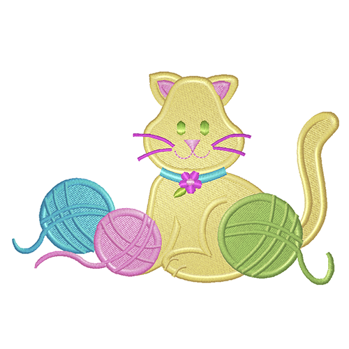 EM-P6420 Kitten & Yarn Embroidery