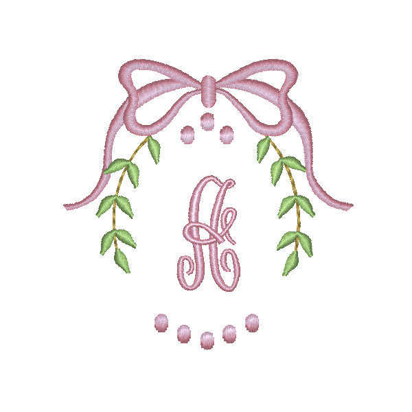 EM-M10006 Boy & Girl Layette Wreaths w/Monogram Font Embroidery