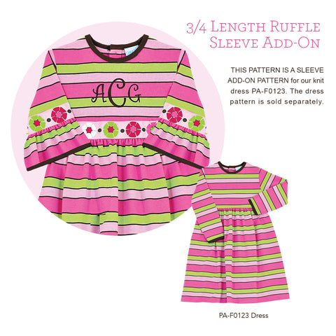 APA-F1023RS 3/4 Length Ruffle Sleeve Add-On Pattern