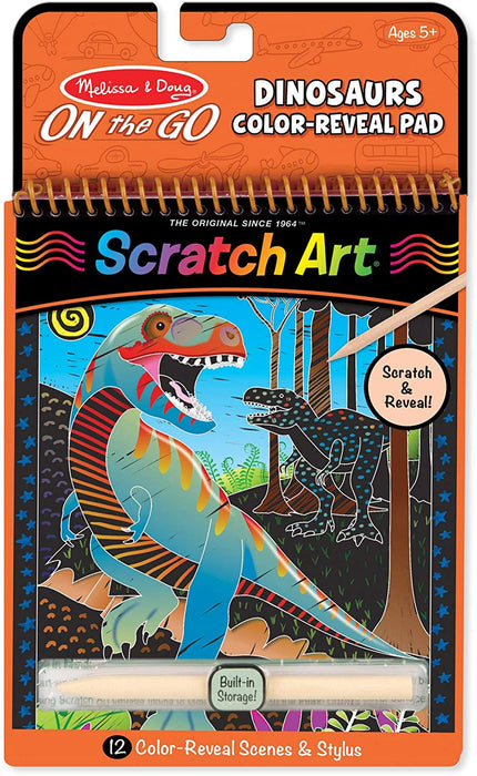 Melissa & Doug On The Go Scratch Art Color Reveal Activity Pad - Dinosaurs