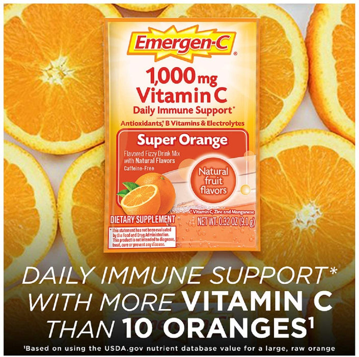 Emergen-C Vitamin C 1000mg Powder (10 Count, Super Orange Flavor), With Antioxidants, B Vitamins And Electrolytes, Dietary Supplement Fizzy Drink Mix, Caffeine Free