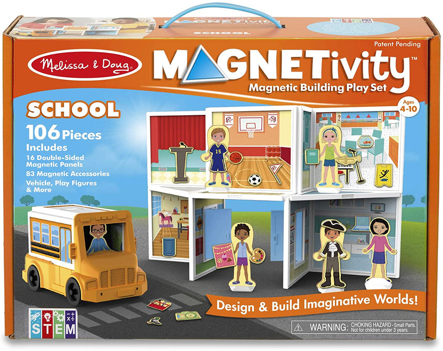 Melissa & Doug Magnetivity Magnetic Tiles Building Playset – School with School Bus Vehicle (106 Pieces, STEM Toy)