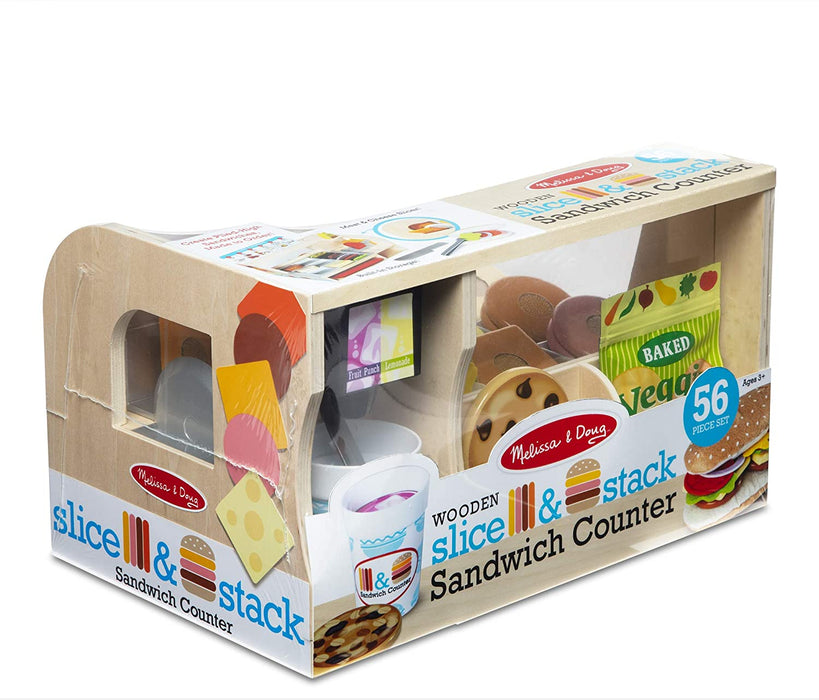 Melissa & Doug Wooden Slice & Stack Sandwich Counter with Deli Slicer – 56Piece Pretend Play