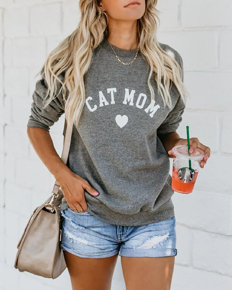 Outlet26 Letter Heart Print Round Neck Casual Sweatshirt gray