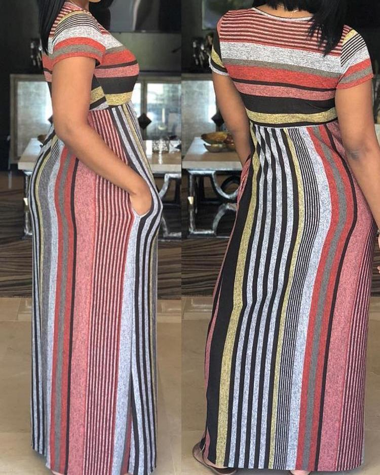 Fashion Colorful Striped Patchwork Maxi Dress