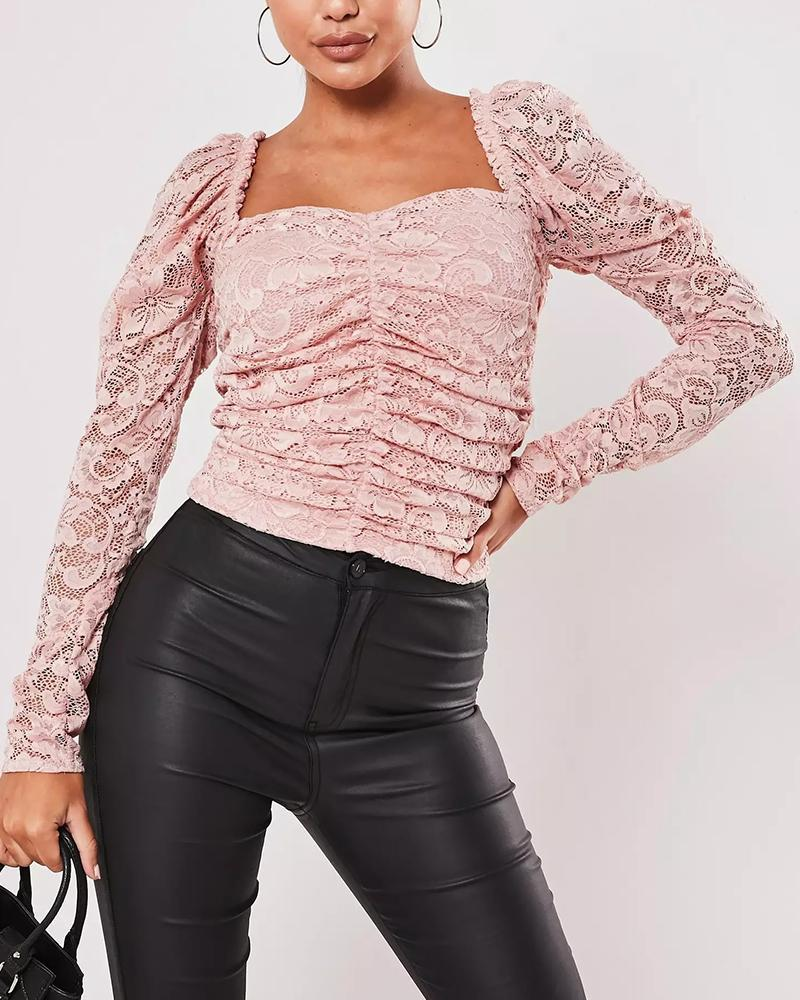 Square Neck Lace Detail Top