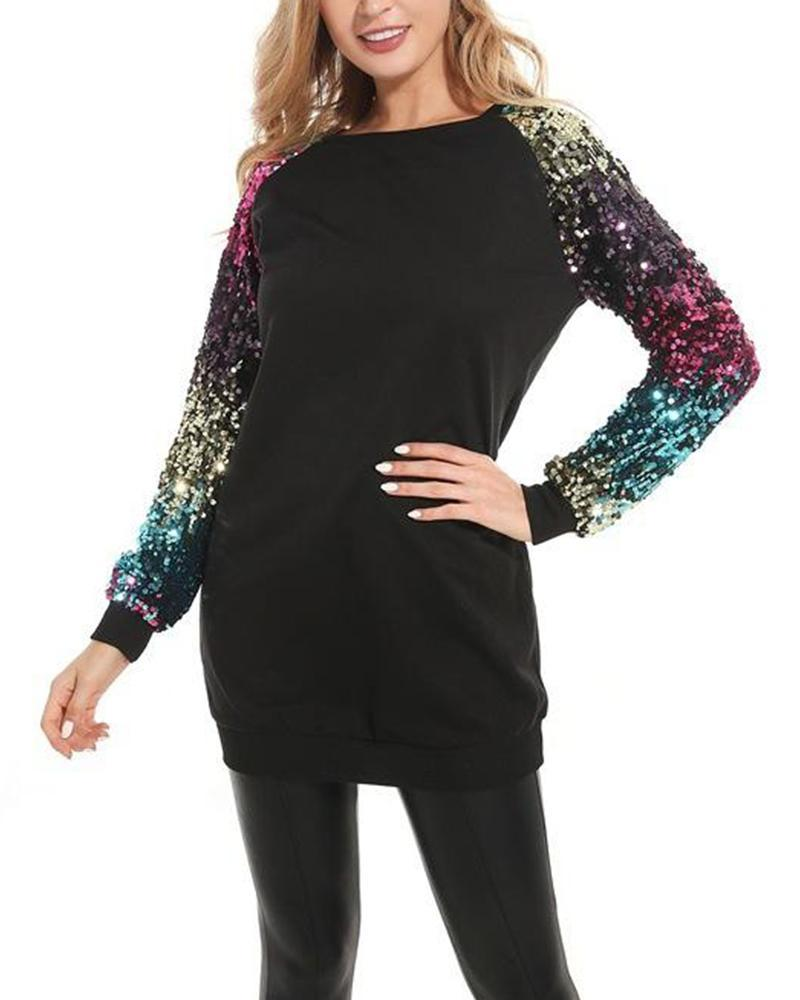 Round Neck Sequin Sleeve Sweatshirt