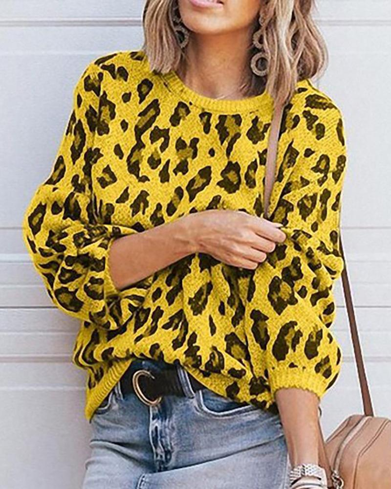 Camouflage Long Sleeve Casual Sweater