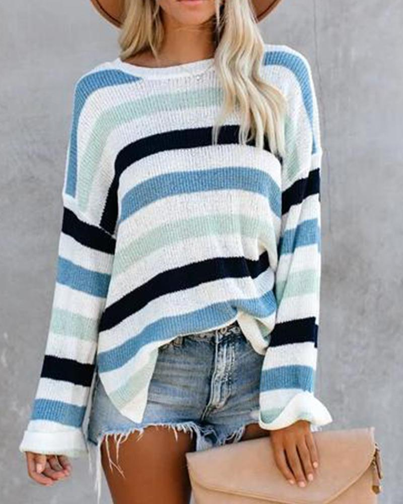 Outlet26 Long Sleeve Draped Striped Ribbed Sweater blue