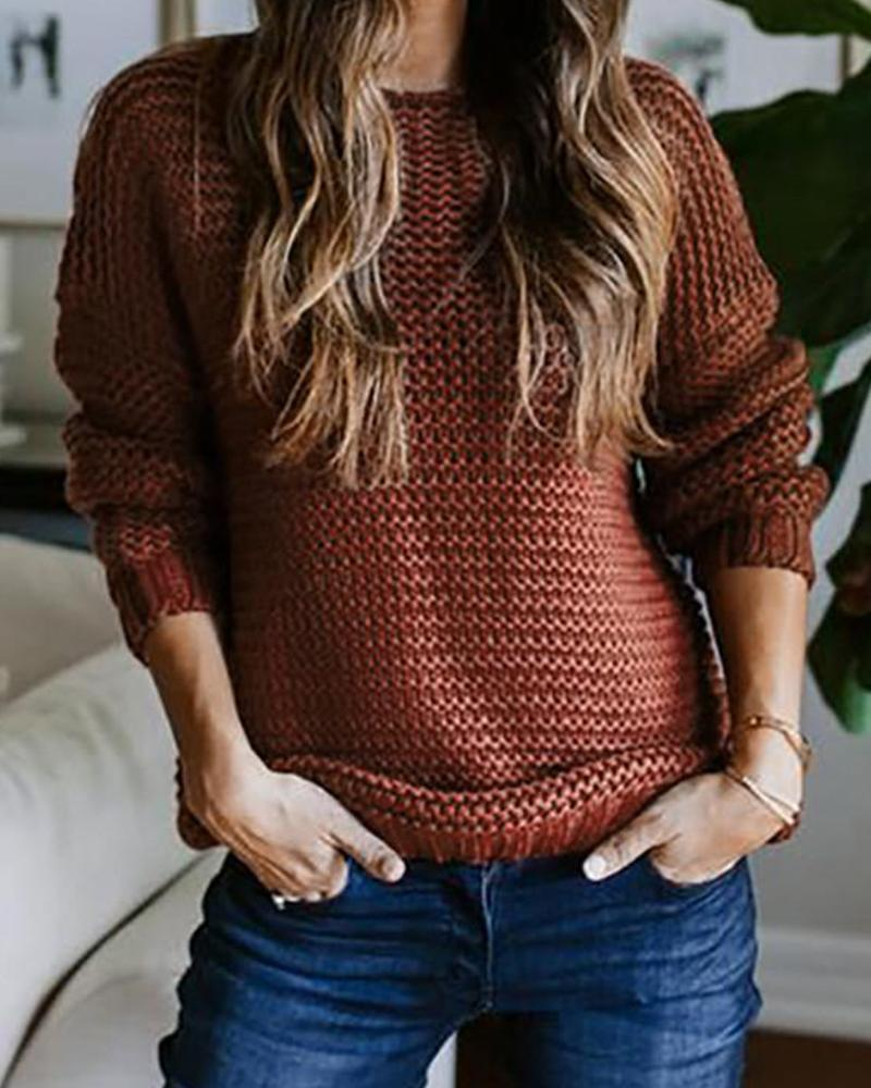 Round Neck Loose Knit Sweater
