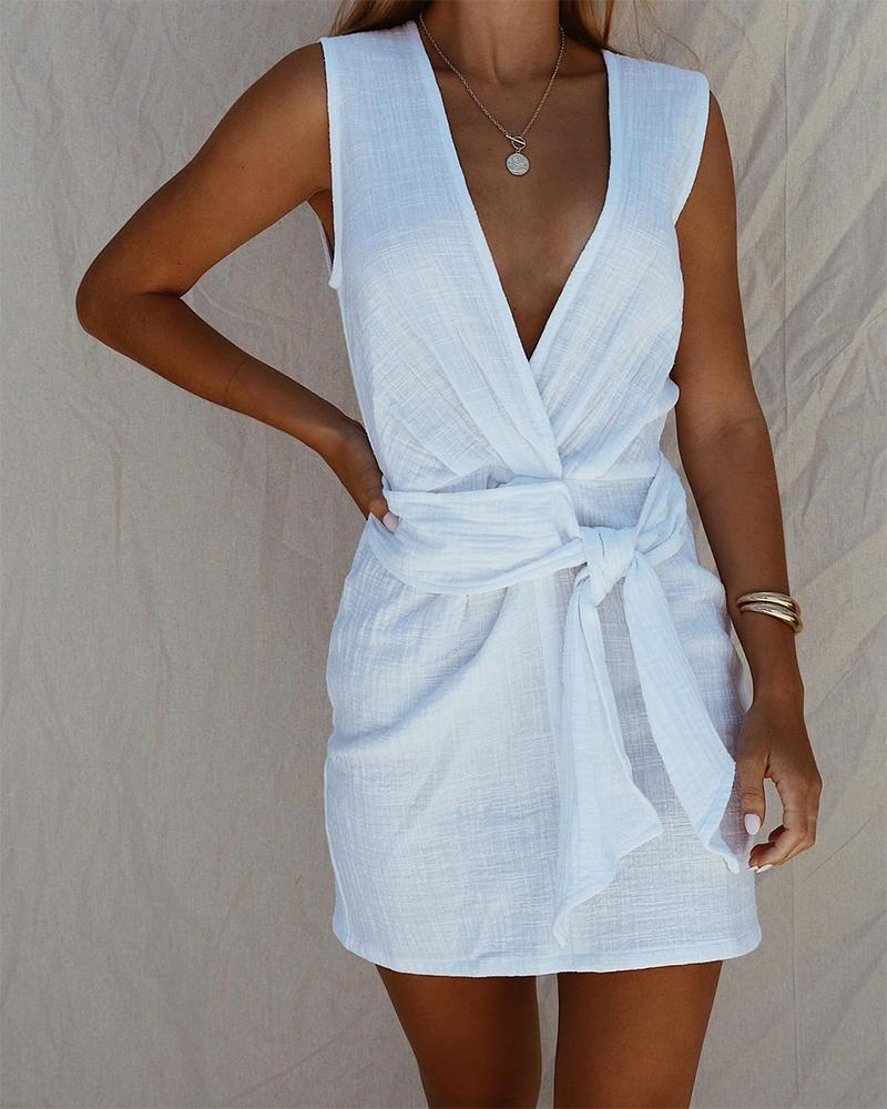 V Neck Tie Front Mini Dress