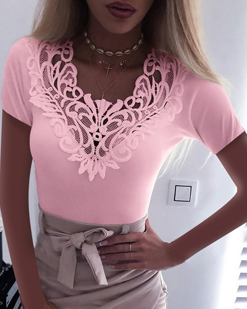 Solid Lace Short Sleeve Top