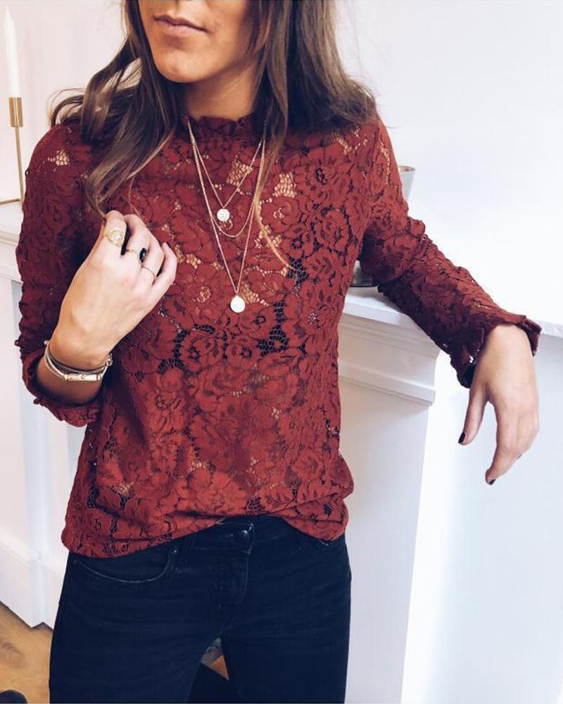 Round Neck Long Sleeve Lace Top