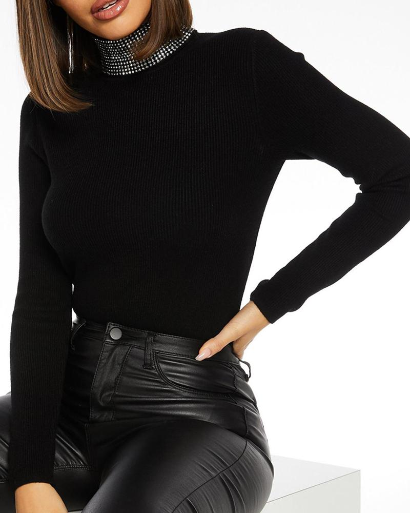 Studded High Neck Long Sleeve Blouse