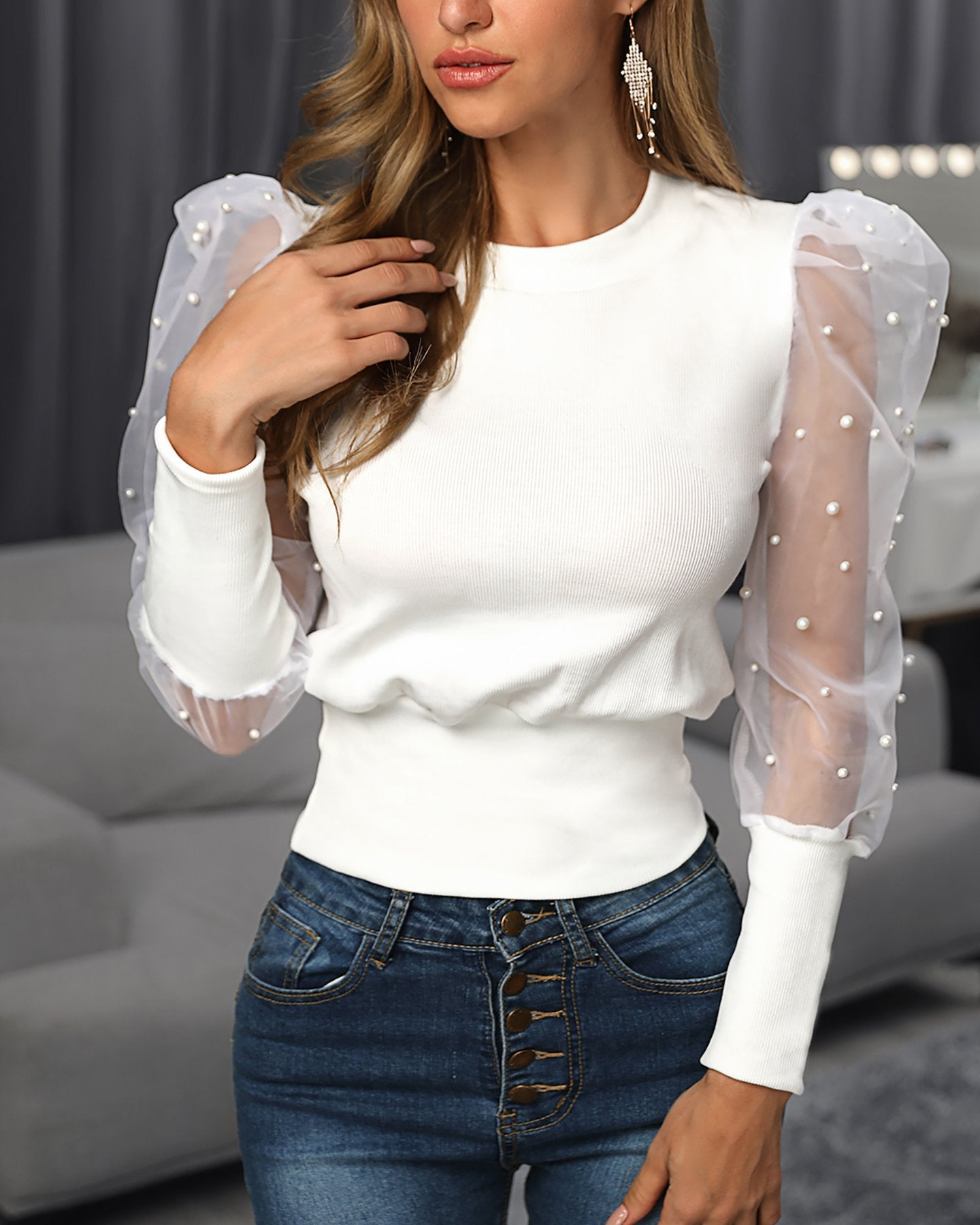 Outlet26 Beaded Design Puffed Sleeve Blouse white