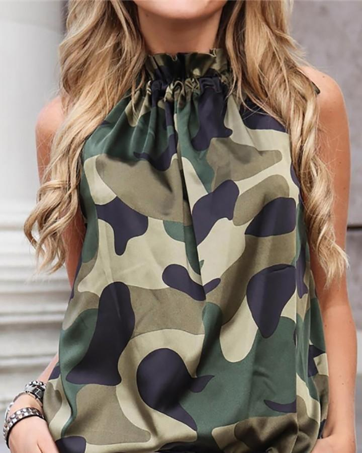 Printed Frills Tie Neck Blouse
