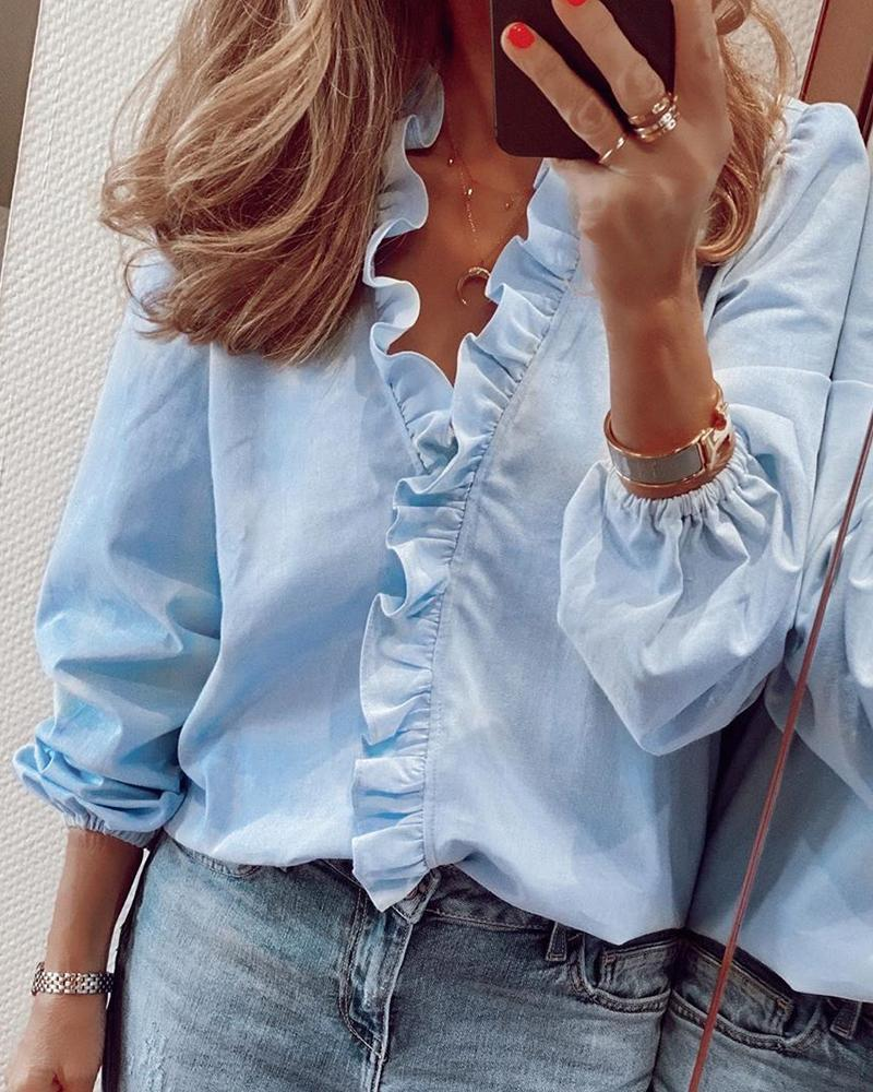 Outlet26 Long Sleeve Ruffles Casual Blouse blue