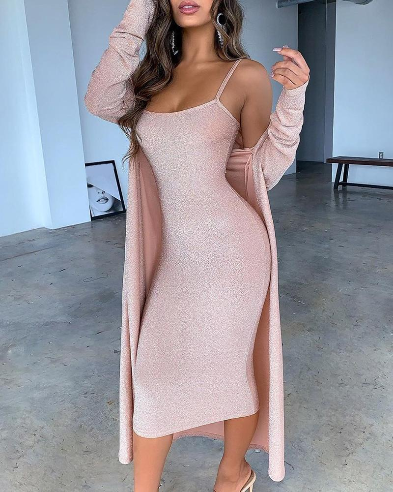Glitter Spaghetti Strap Midi Dress With Cardigan Coat