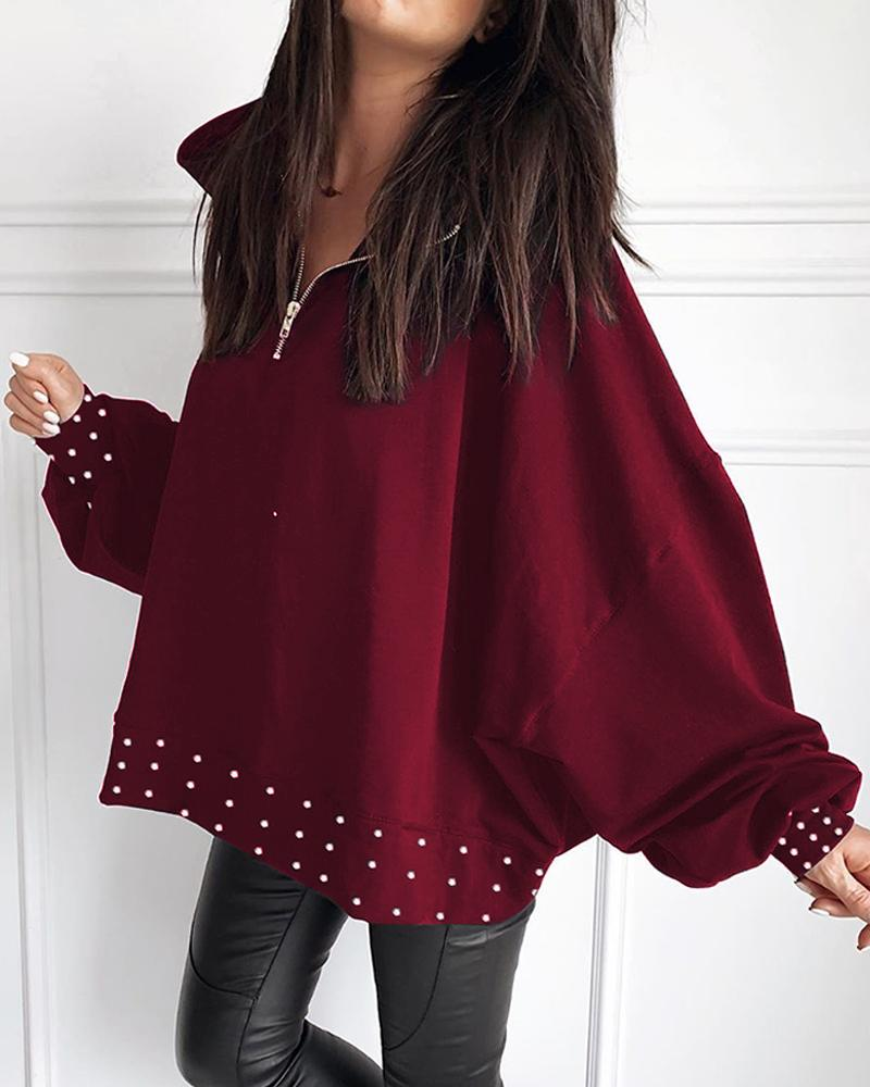 Beaded Detail Zipper Casual Blouse