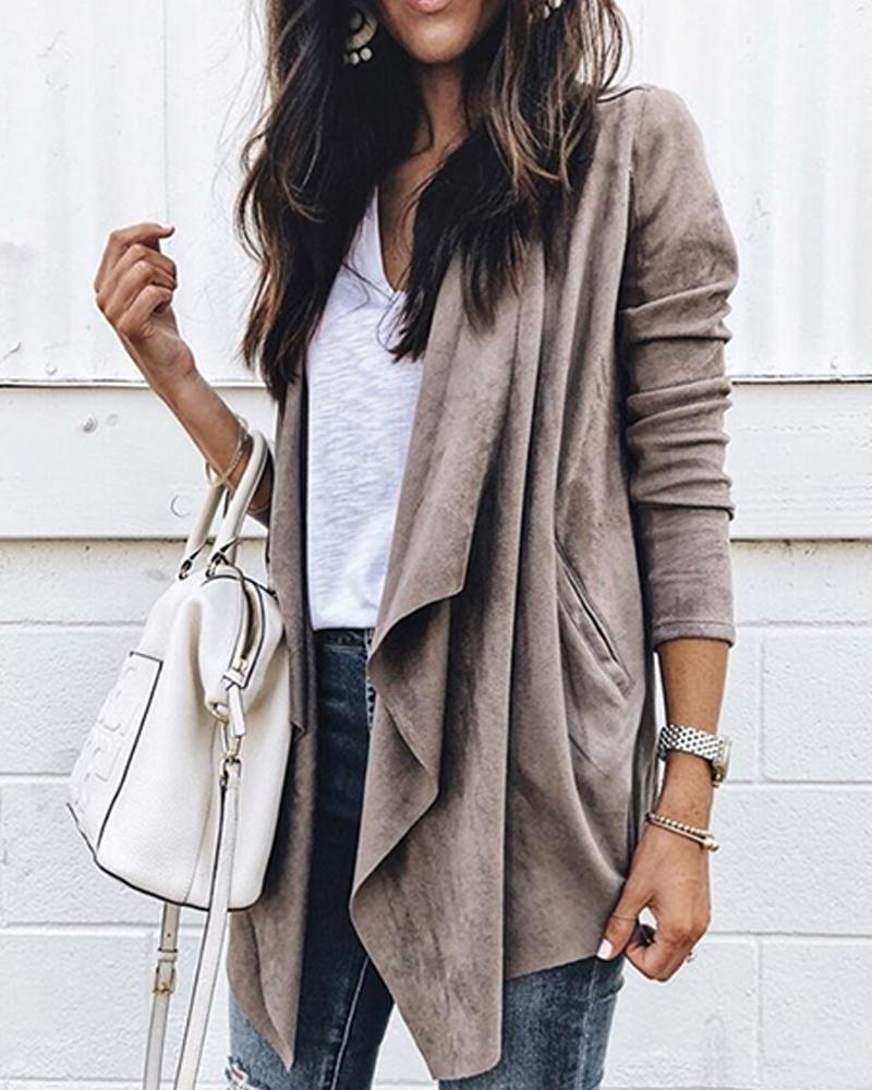 Outlet26 Solid Faux Suede Drape Coat coffee