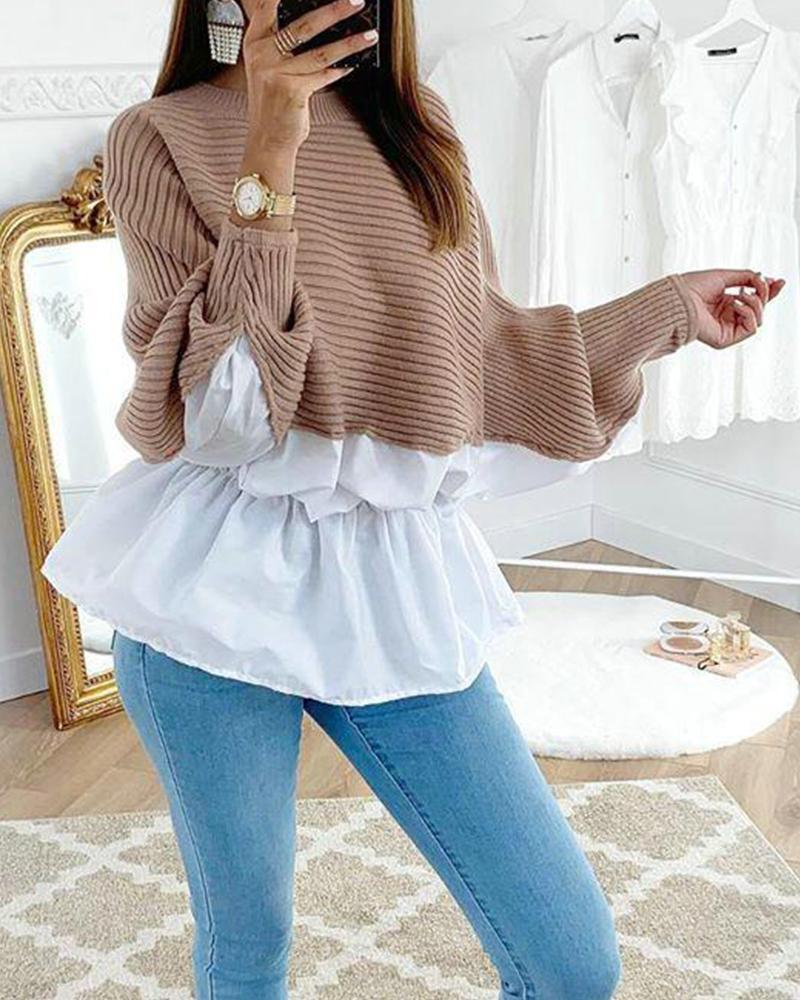 Outlet26 Cross Color Knitted Lounge Top coffee