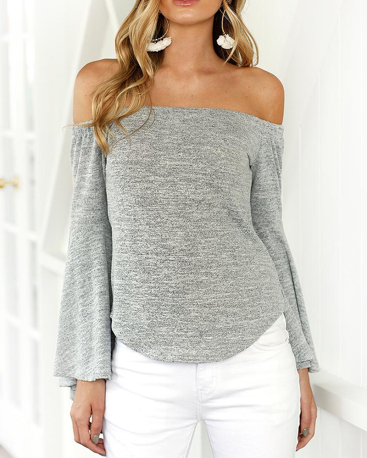 Outlet26 Trendy Off Shoulder Flare Sleeve Casual Blouse gray