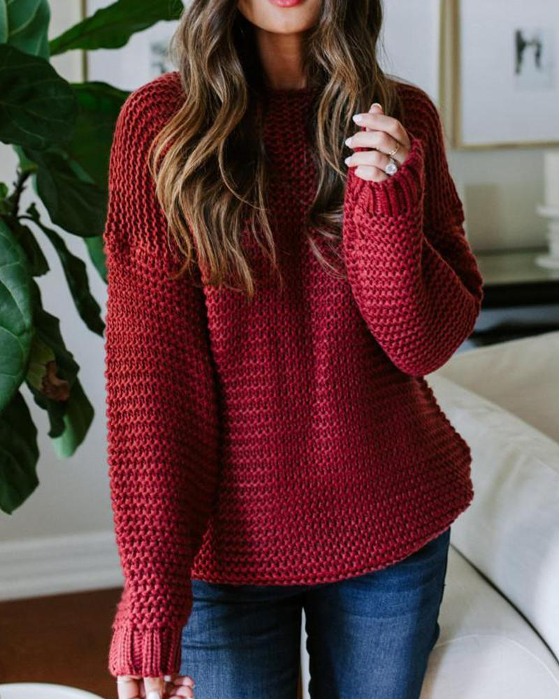 Outlet26 Round Neck Loose Knit Sweater red