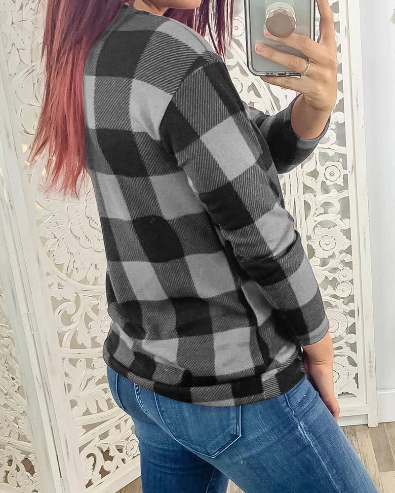 V Neck Long Sleeve Plaid Top