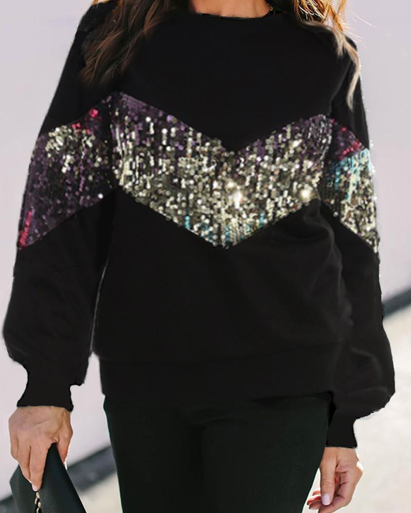 Outlet26 Contrast Sequins Long Sleeve Sweatshirt black